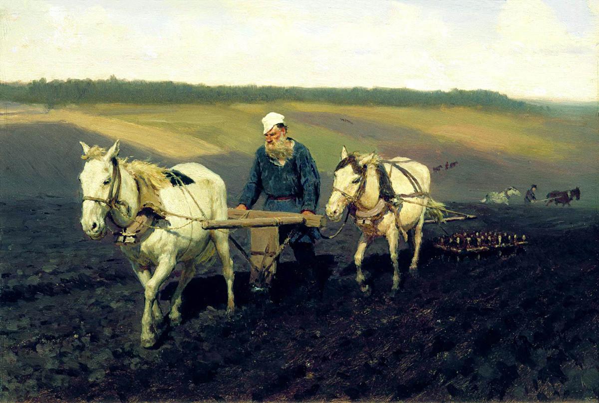 Tolstoï dans un champ de labour, 1887