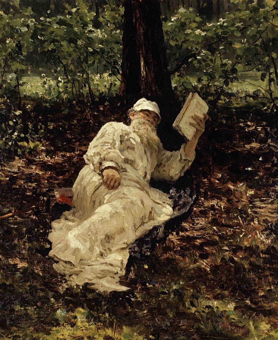 Léon Tolstoï se reposant dans la forêt, 1891