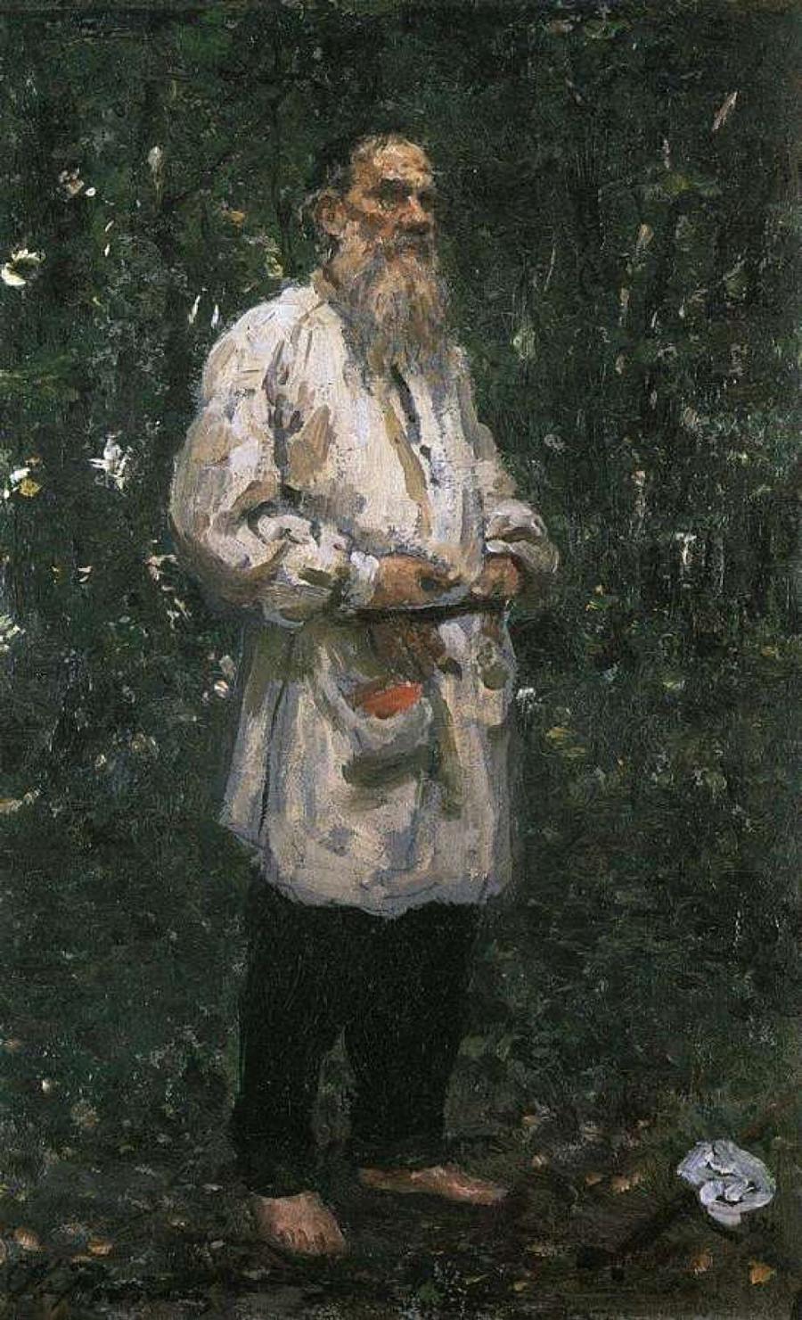 Léon Tolstoï pieds nus. Étude pour un portrait du même titre, 1891