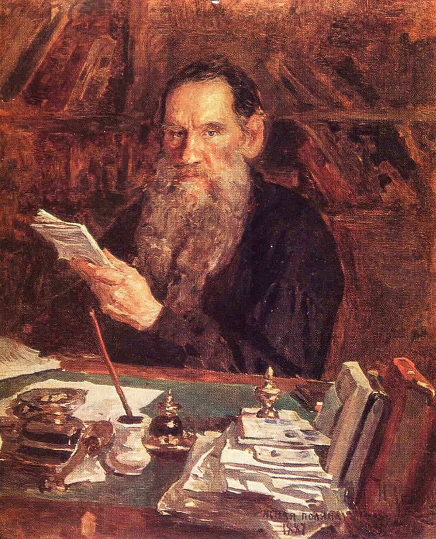 Léon Tolstoï dans son bureau à Iasnaïa Poliana, 1887