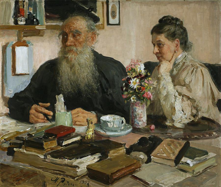 Léon Tolstoï avec sa femme Sofia