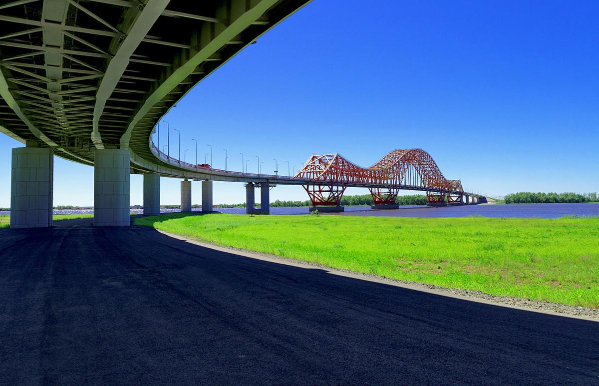 'Red Dragon' bridge over the Irtysh River