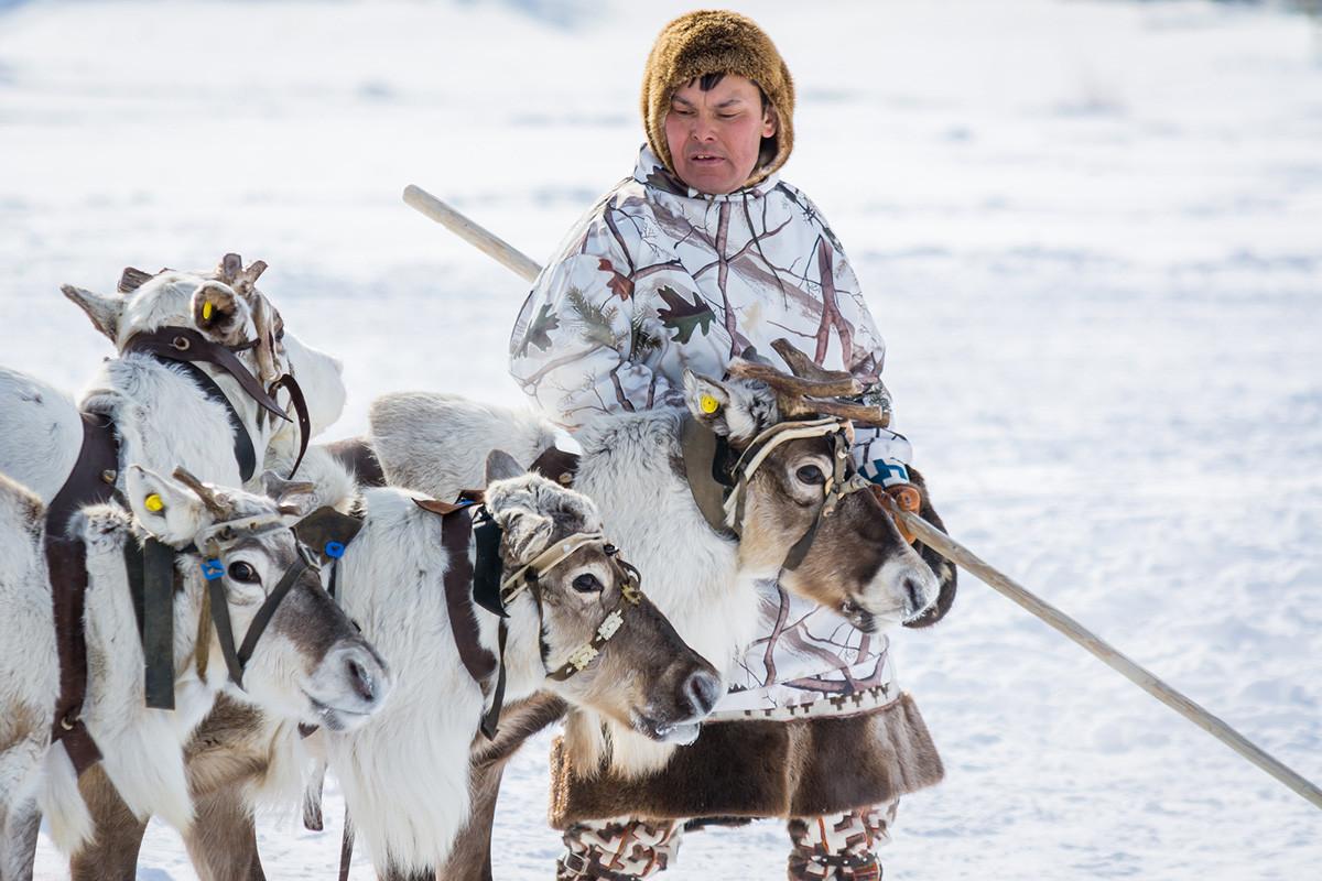 A Khanty man in a traditional dress