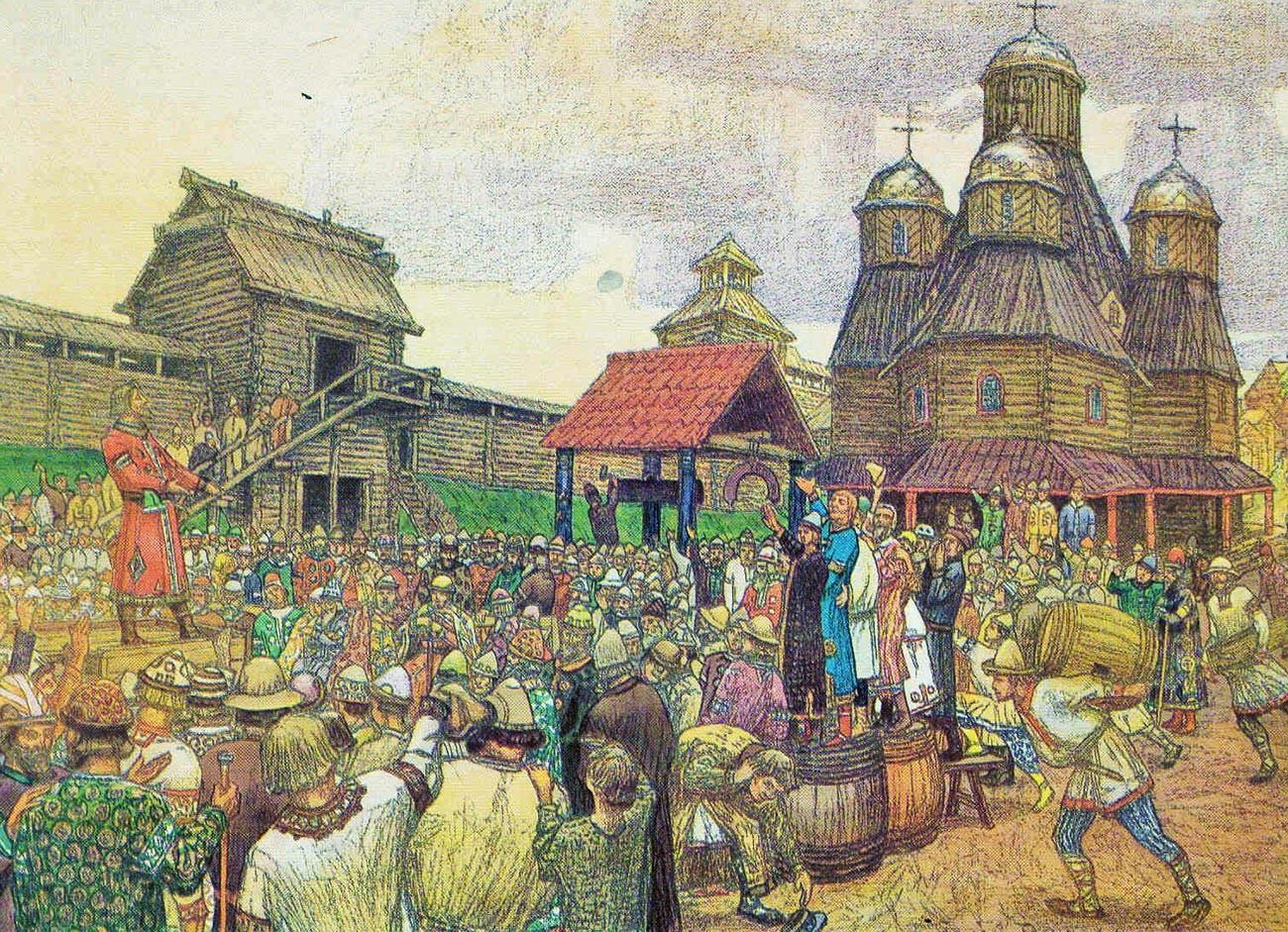 'Veche di Pskov', 1909, karya Apollinary Vasnetsov.