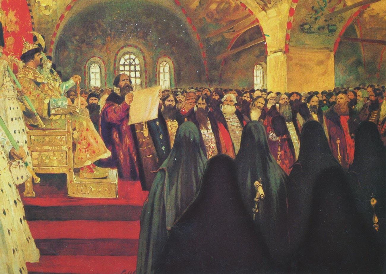 'Zemsky Sobor pada abad ke-17', karya Sergei Ivanov, 1908.
