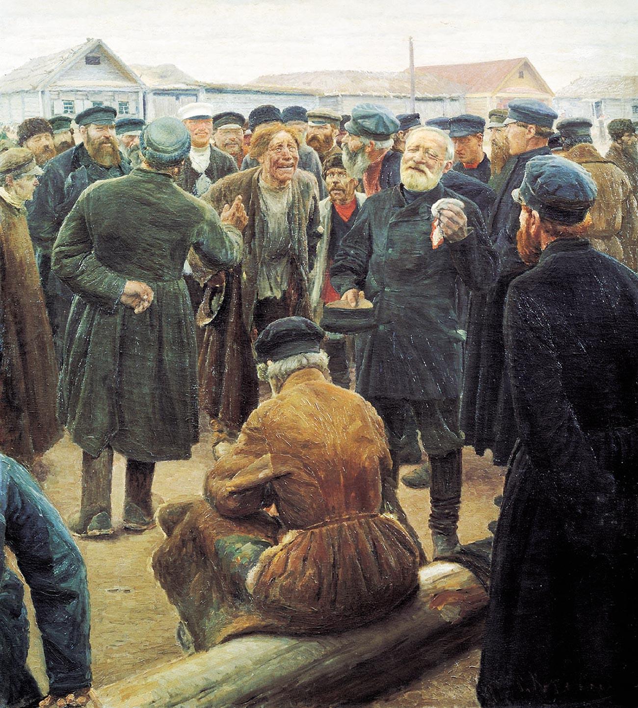 'Hari Libur Troitsa ('Na Miru')' oleh Sergey Korovin, 1893, menggambarkan komunitas desa yang berkumpul di alun-alun pasar Rusia.