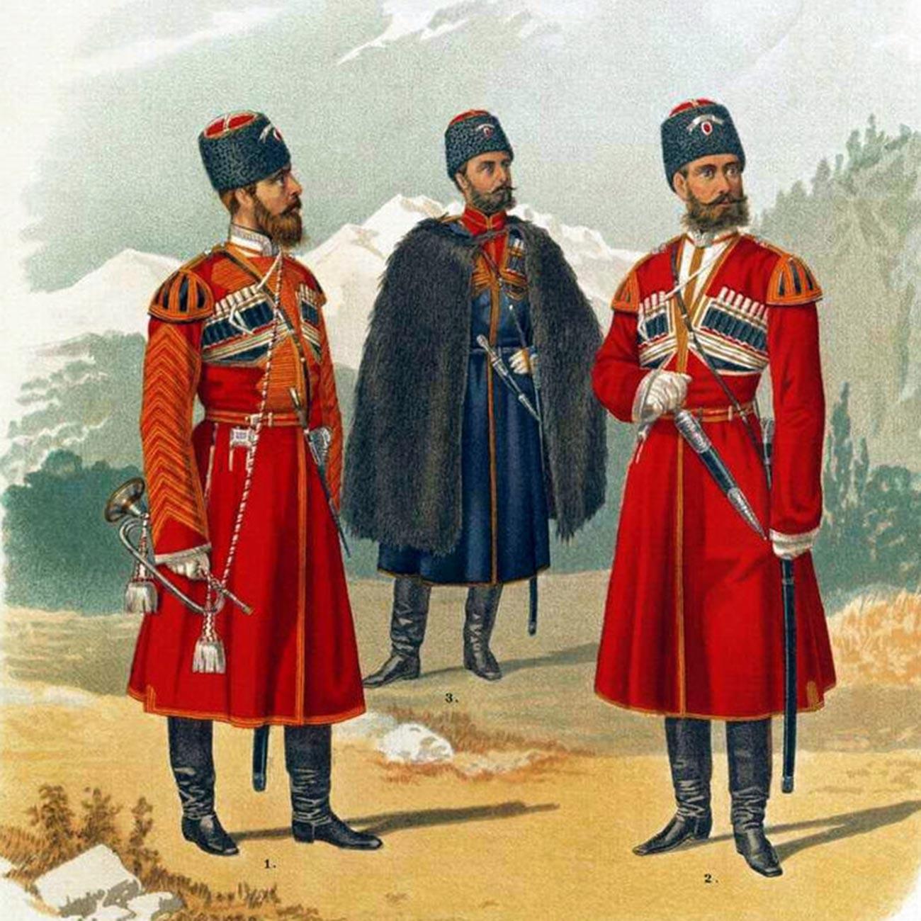 皇帝を守るために編成されたコサック連隊の衣装