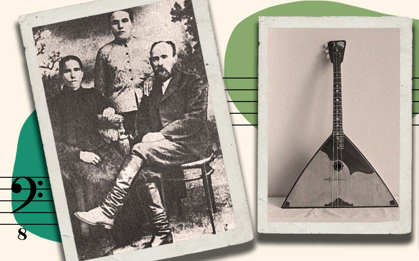 Semen Nalimov mit seiner Frau (v.l) und seiner Schwester. Ein traditionelles Volksinstrument, Balalaika (v.r).