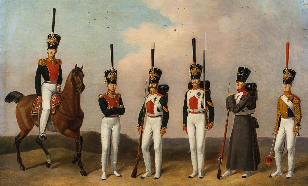 Офицери и лейбгвардисти от Преображенския полк