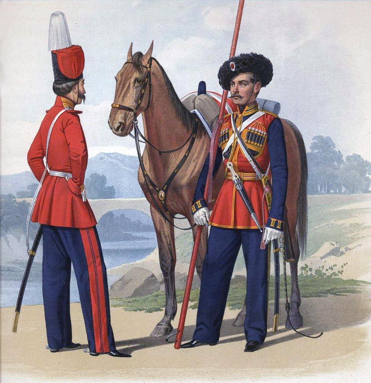 Редови лейбгвардист от Казашкия полк и лейбгвардист от Черноморския полк, 1855 г.