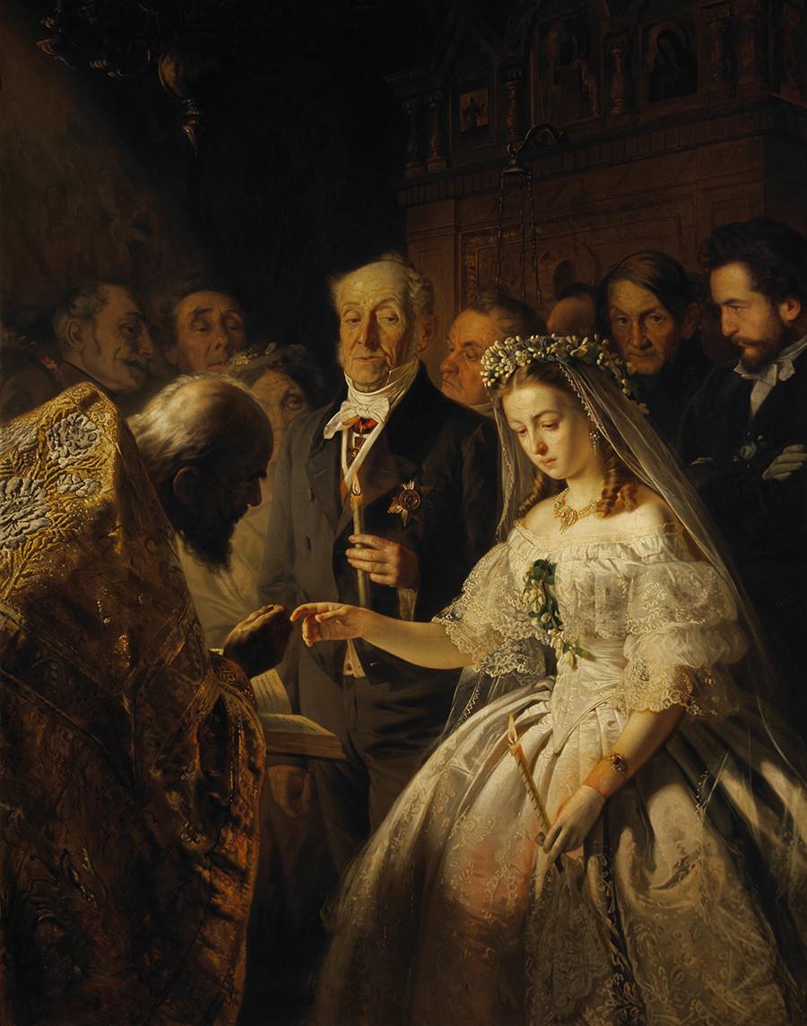 Matrimonio diseguale (1863), dipinto di Vasilij Pukirev (1832-1890)