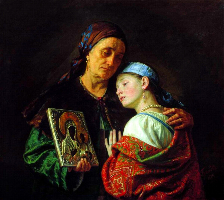 """""""La benedizione per il matrimonio"""" (1886), dipinto di Sergej Gribkov (1822-1893)"""