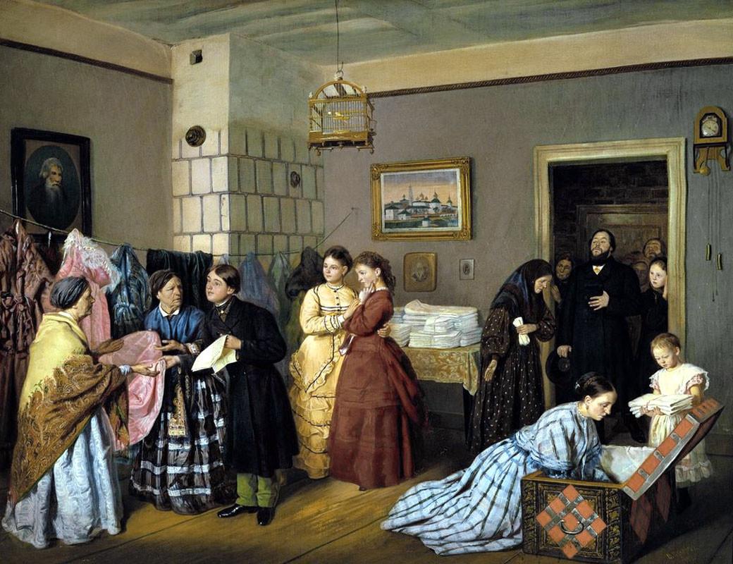 """""""Ricezione della dote in una famiglia di mercanti"""" (1873), dipinto di Vasilij Pukirev (1832-1890)"""