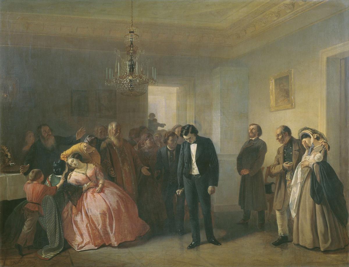 """""""Fidanzamento interrotto"""" (1860), dipinto di Adrian Volkov (1827-1873)"""