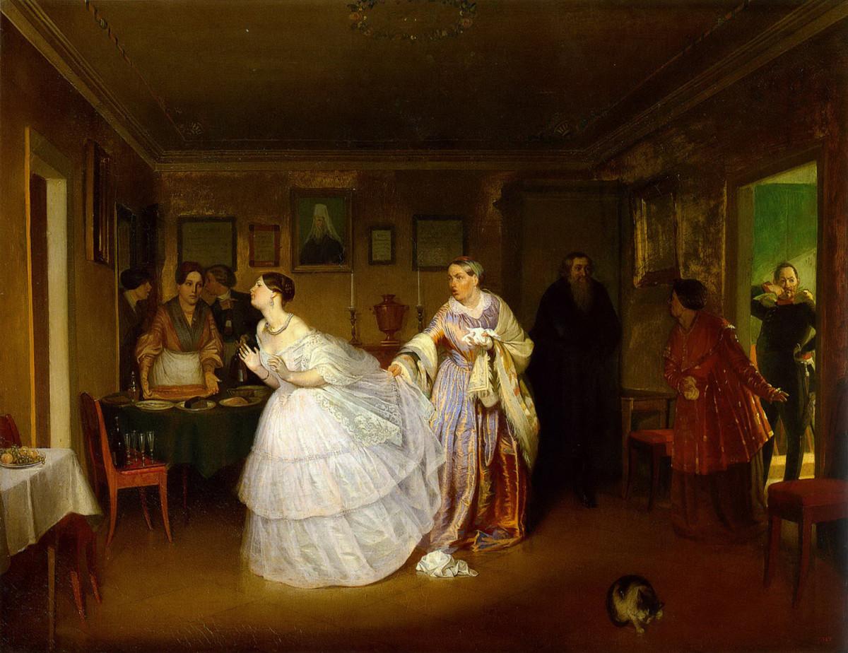 """""""Le nozze combinate del maggiore"""" (1848), dipinto di Pavel Fedotov (1815-1852)"""