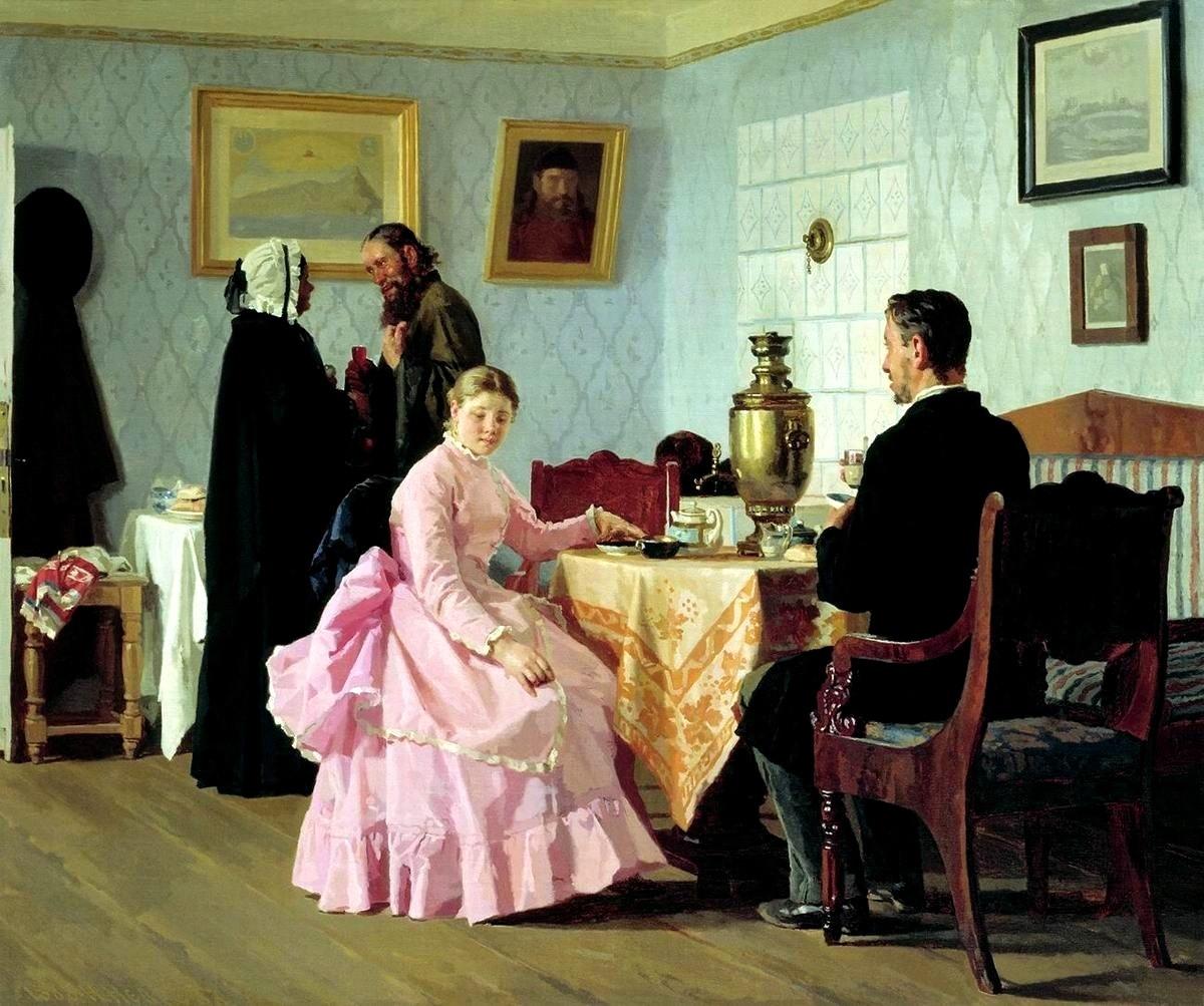 """""""Presentazione di una ragazza da sposare"""" (1889), dipinto di Nikolaj Nevrev (1830-1904)"""