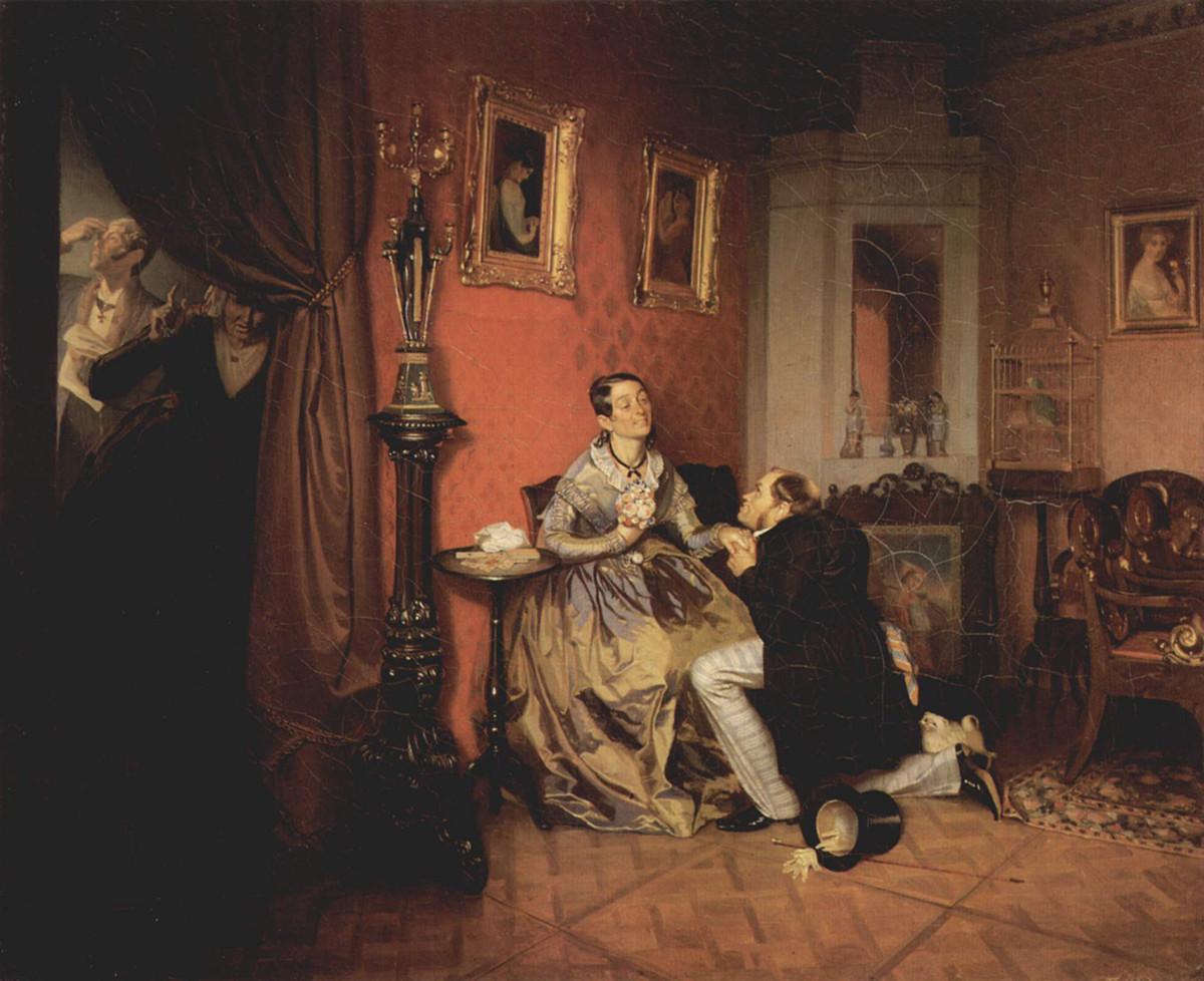 """""""La fidanzata capricciosa"""" (1847), dipinto di Pavel Fedotov (1815-1852)"""
