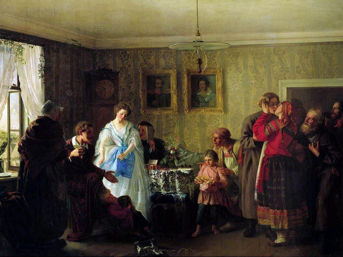 """""""Auguri alla giovane coppia nella casa di un possidente"""" (1861), dipinto di Grigorij Mjasoedov (1834-1911)"""
