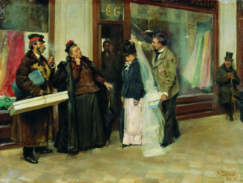 """La scelta del corredo per la dote"" (1898), dipinto di Vladimir Makovskij (1846-1920)"