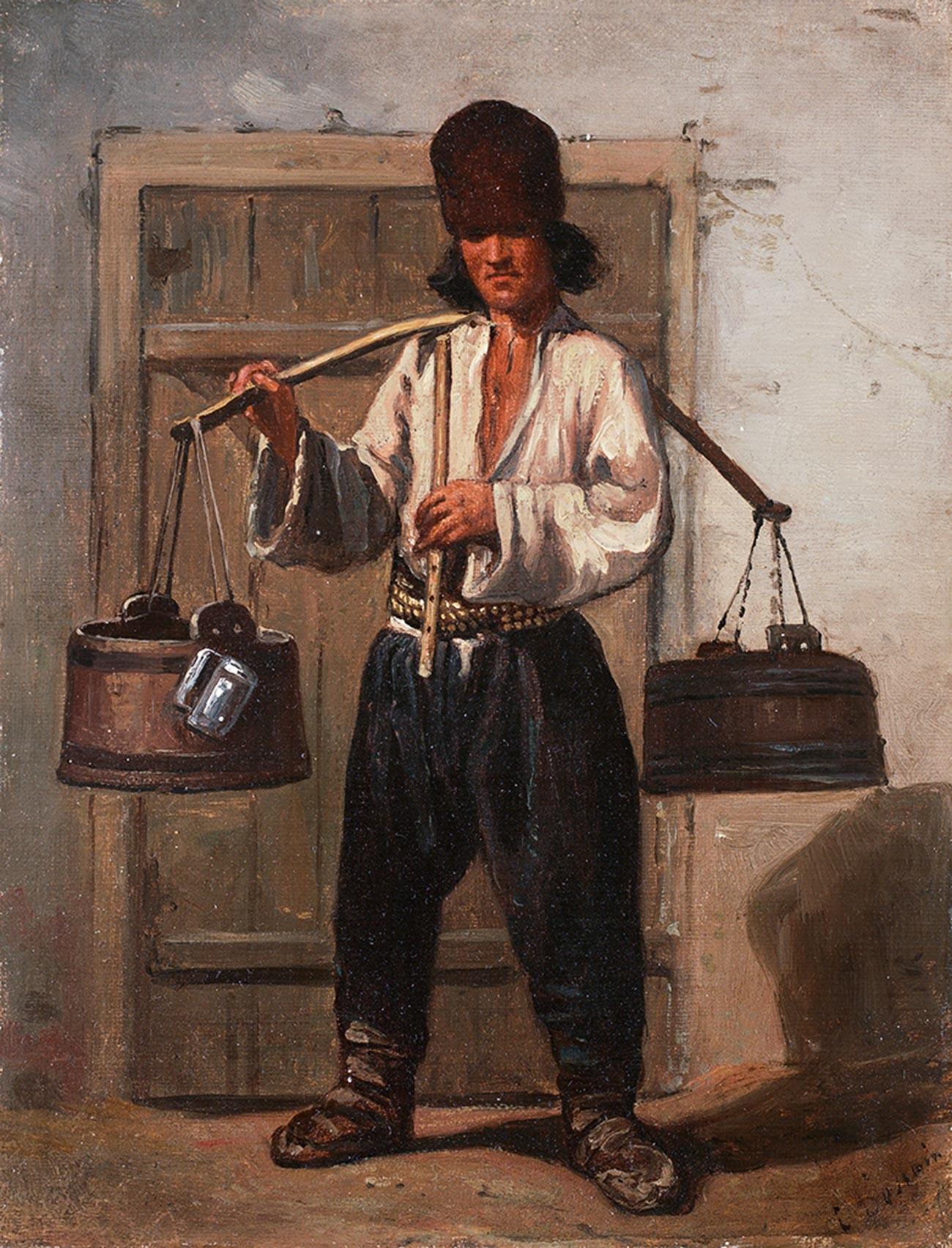 Russischer Kwas-Verkäufer.