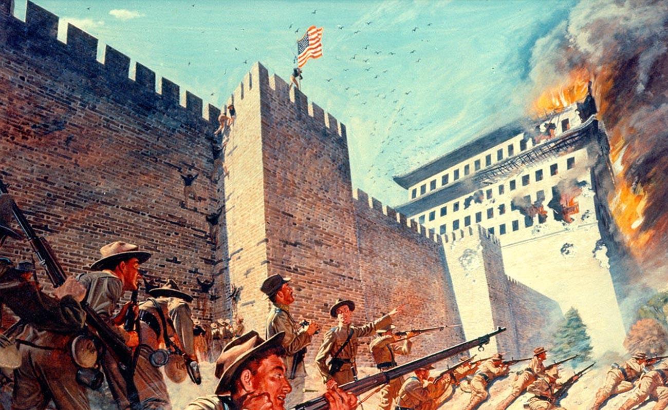 Pasukan Amerika menyerang Beijing.