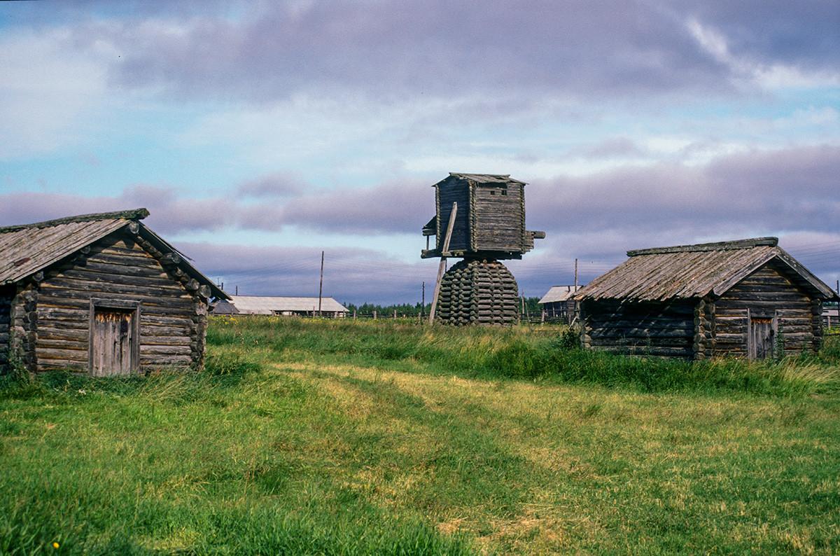 Kimzha (Mezen distict). Log barns & post windmill. August 2, 2000