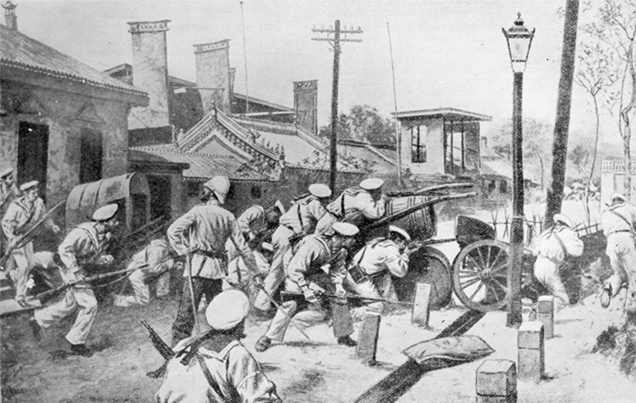 Des soldats russes défendent le quartier des ambassadeurs à Pékin.
