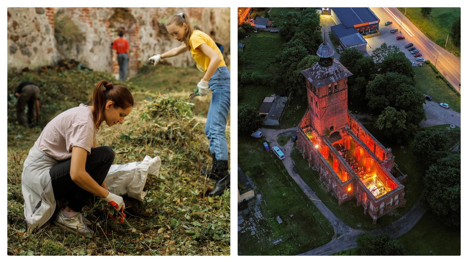 À esq., voluntários limpam castelo, à dir., show nas ruínas.