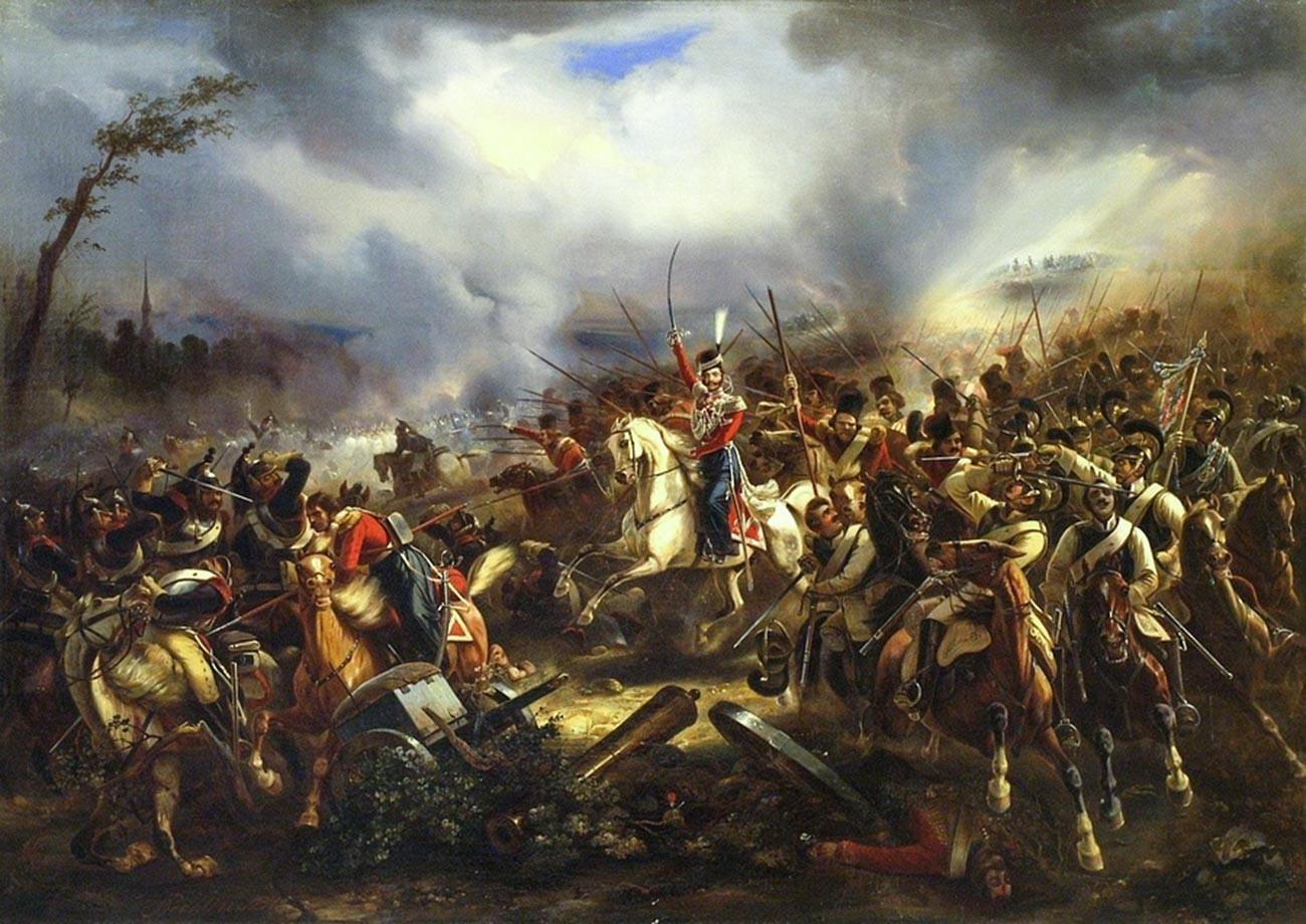 """""""Attacco della Guardia del corpo cosacca nei pressi di Lipsia il 17 ottobre 1813"""", dipinto di Karl Reichlin (1802–1875) del 1845"""