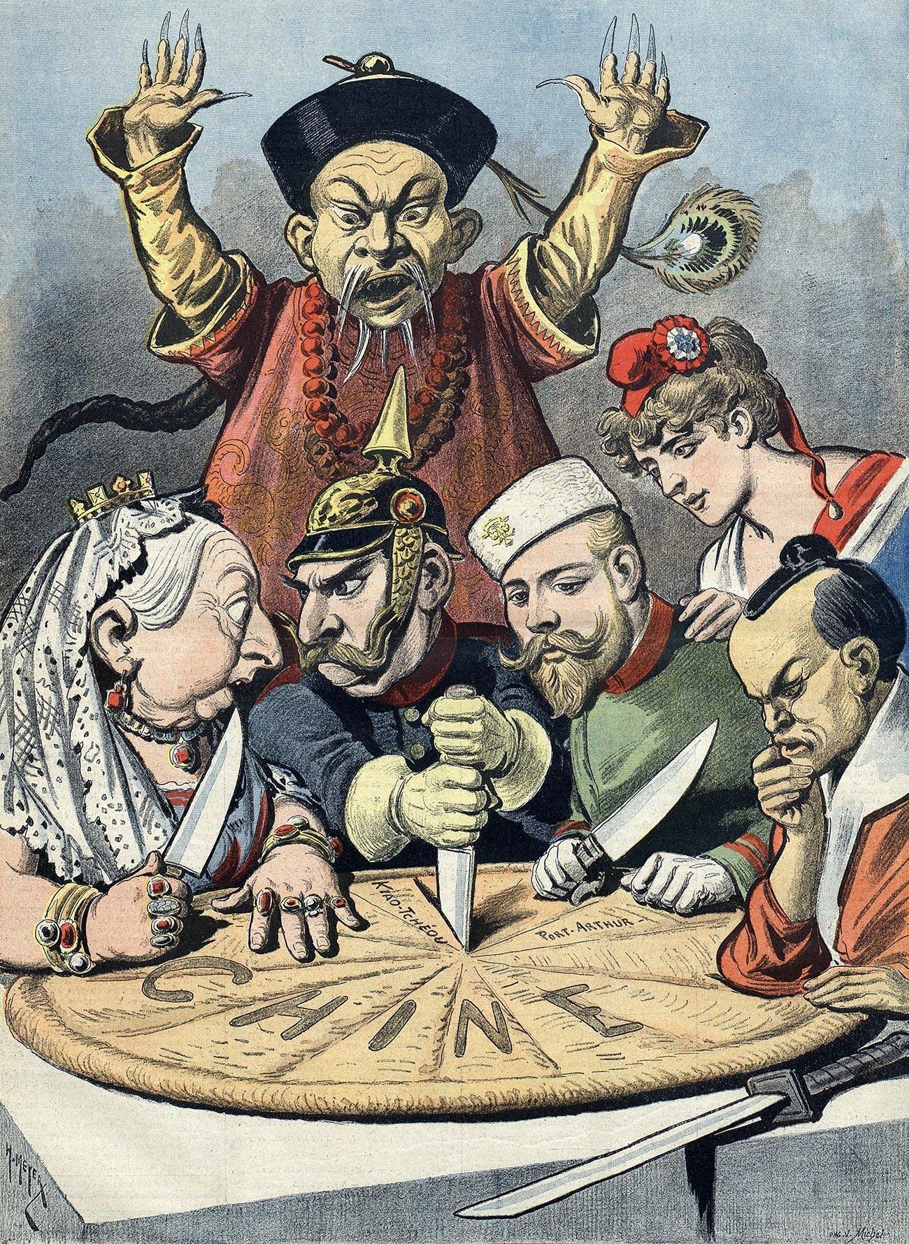 Französische politische Karikatur der späten 1890er Jahre. Der Kuchen verkörpert China, das von der englischen Königin Wiktoria, dem deutschen Kaiser Wilhelm II. , Nikolaus II., die Französin Marianne und der japanische Kaiser Meiji. Hinten steht ein Vertreter des Qing-Gerichts.