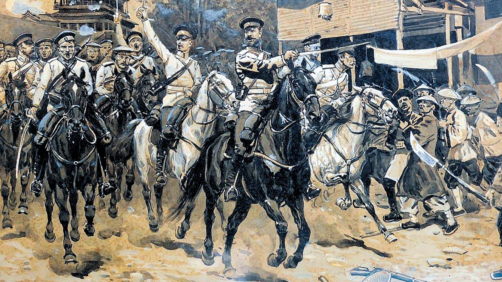 Russische Kavallerie in China während der Niederschlagung des Ihetuan-Aufstands.