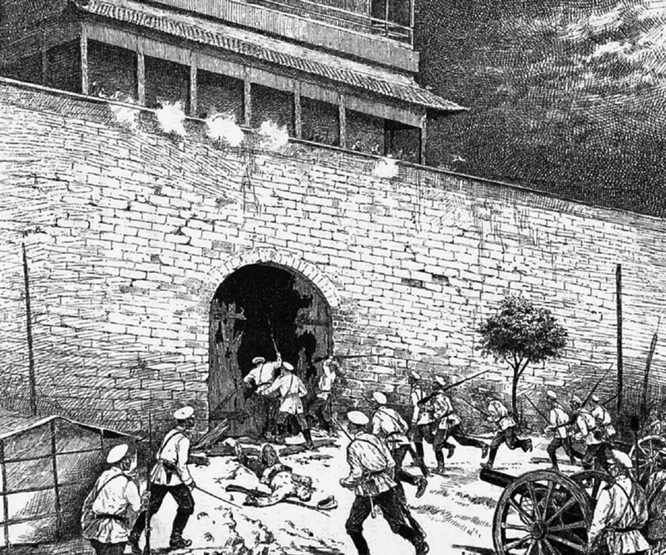 Tropas russas atacam o Portão Dongbianmen.