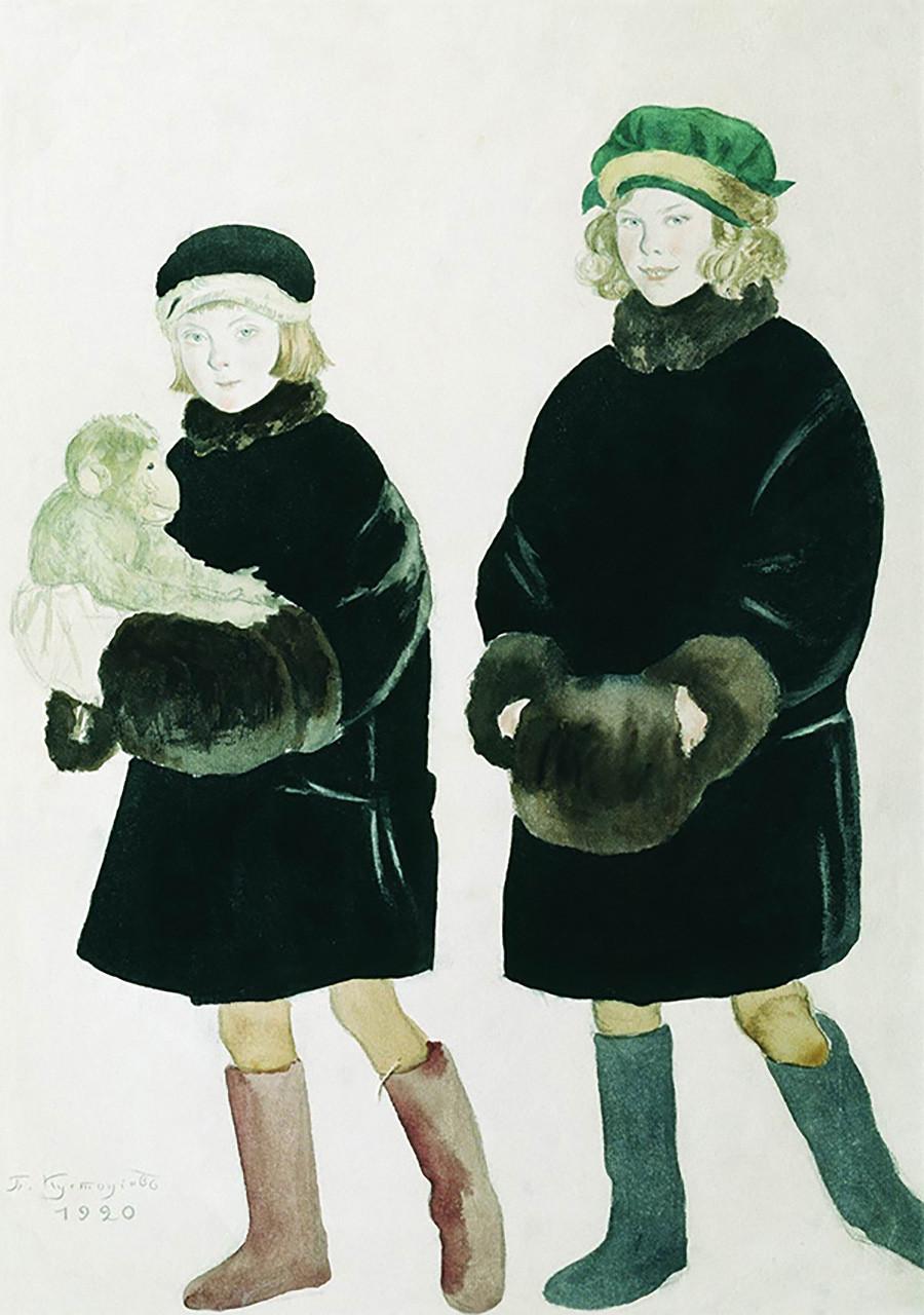 『シャリャピン姉妹マルタとマリーナの肖像画』、ボリス・クストーディエフ、1920年