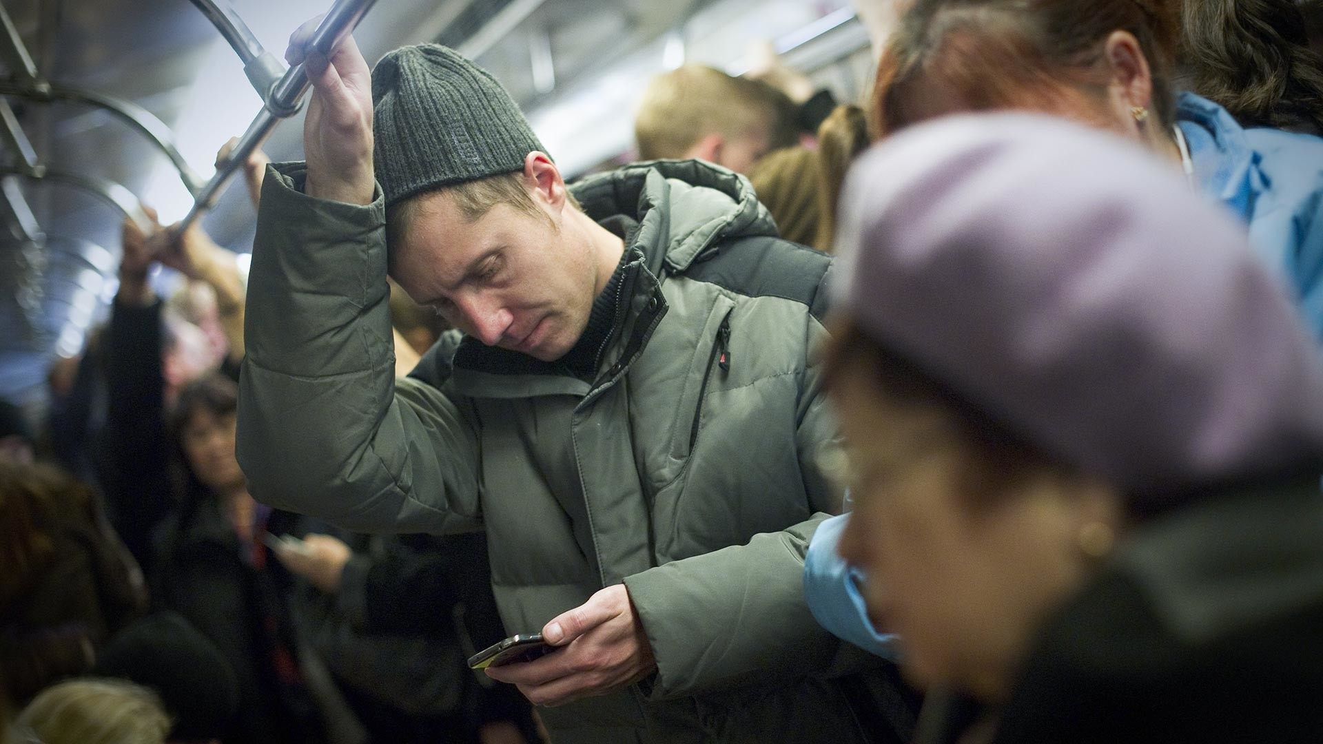 Horário de pico no metrô de Moscou.