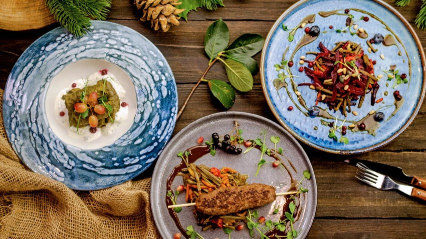 Taiga set in the Studio cafe (deer dolma, venison lula, beetroot salad with fern, pine nuts and berries).