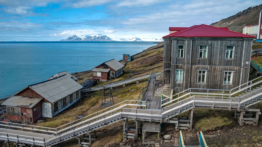 Barentsburg, russische Siedlung in Spitzbergen, Norwegen.