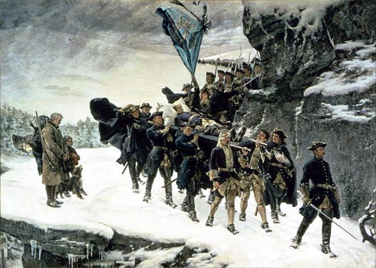 Trauerzug mit dem Leichnam Karls XII.