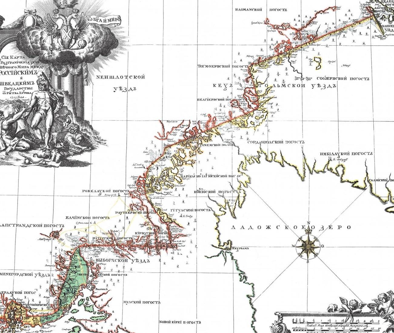 Karte der Landabgrenzung zwischen den russischen und schwedischen Staaten nach dem Friedensvertrag von Nystadt (1722).