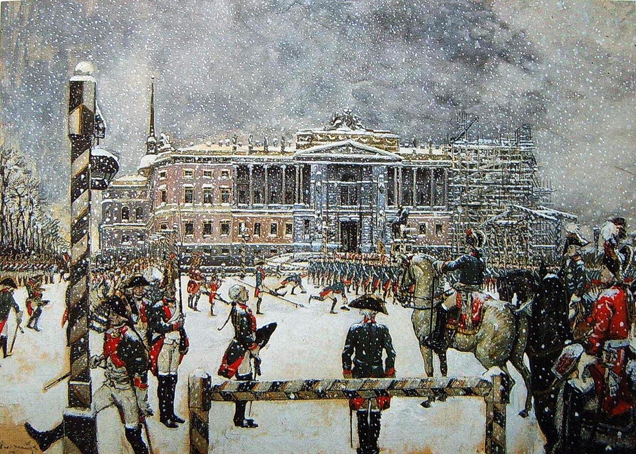 'Parade pada masa pemerintahan Pavel I dari Rusia' karya Alexander Benois.