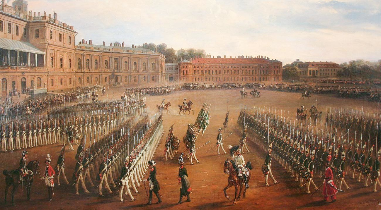 'Parade pada masa pemerintahan Pavel I dari Rusia' karya Gustav Schwartz.