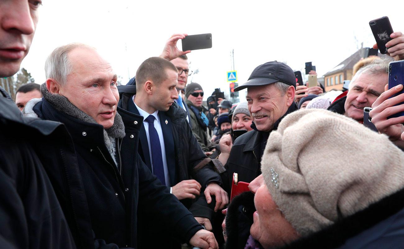 Lors d'un déplacement dans la région de Lipetsk, le 22 janvier 2020