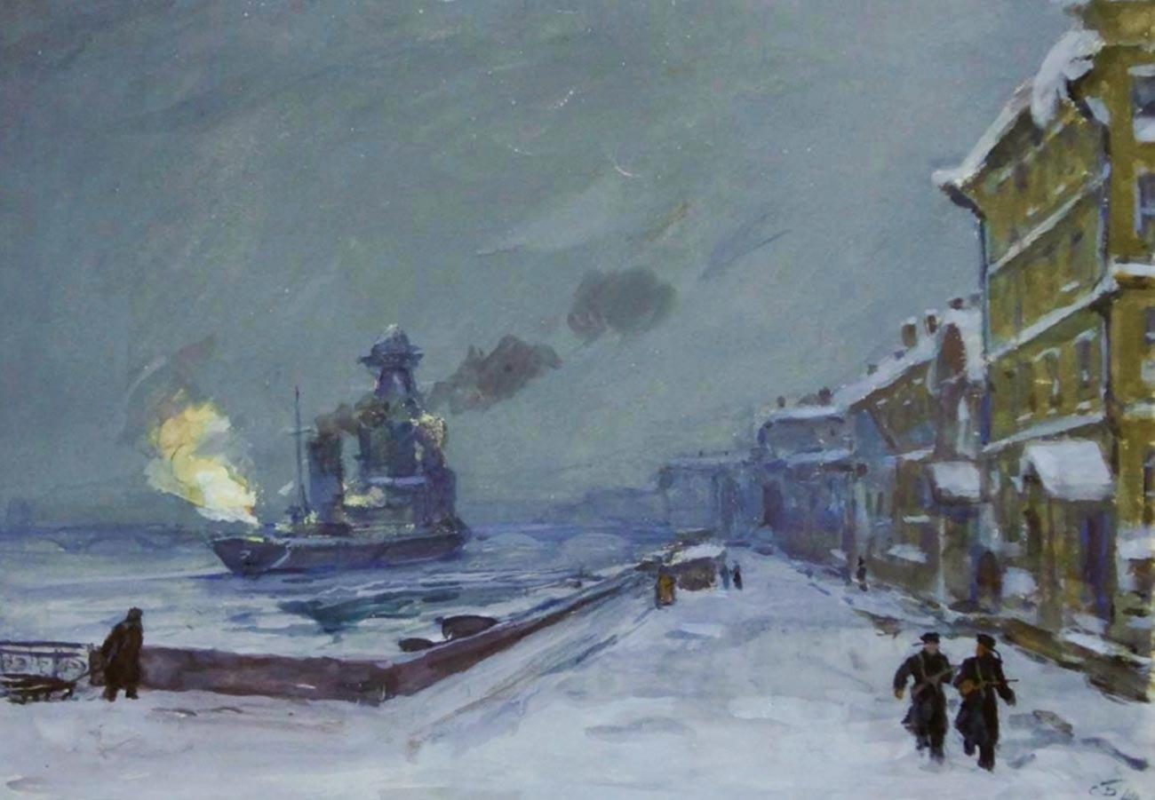 Kapal jelajah Kirov melancarkan tembakan.