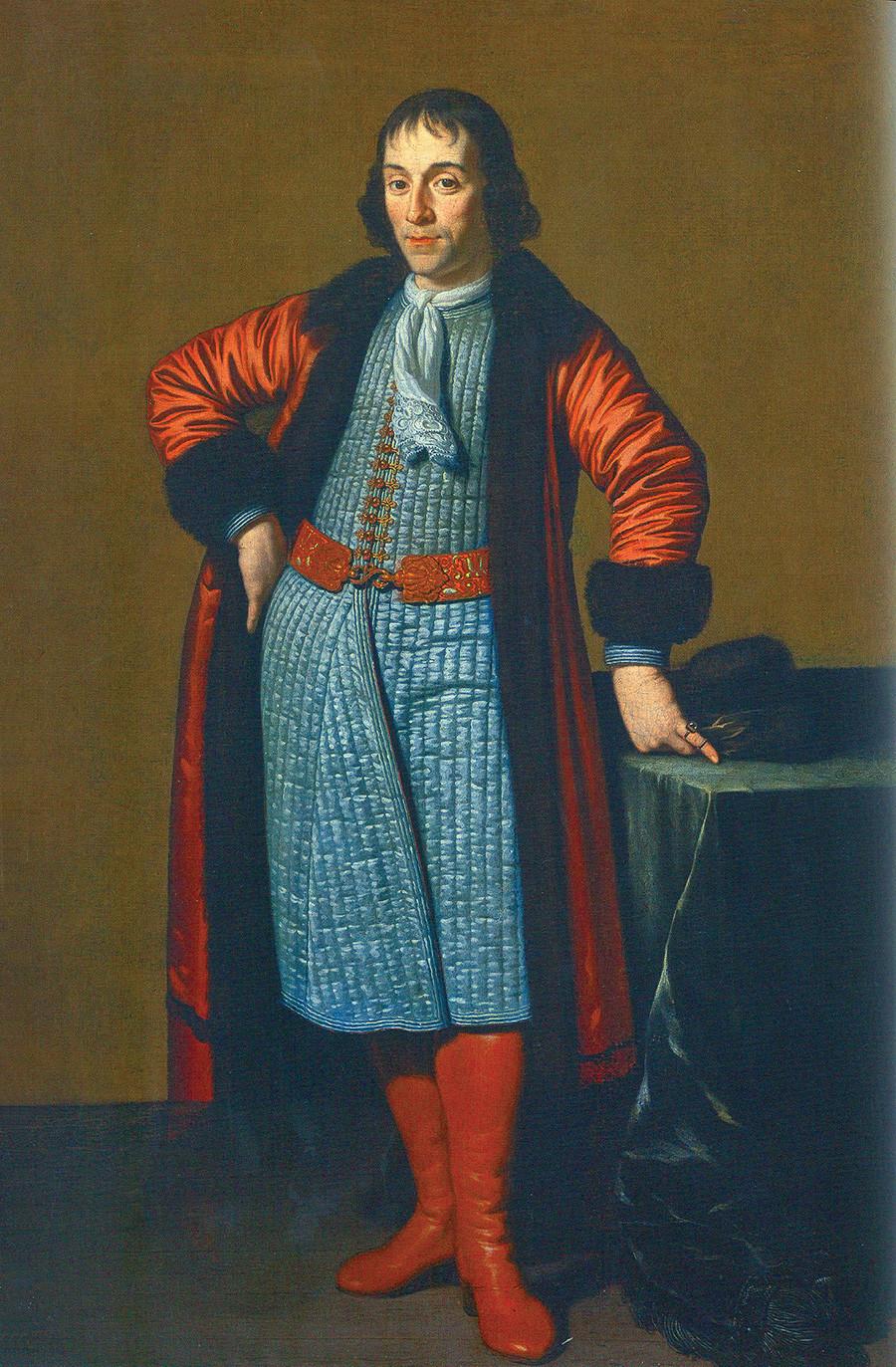 Potret Aleksandr Menshikov dilukis di Belanda mendampingi Pyotr yang Agung di Kedutaan Besar Rusia, karya Michiel van Musscher.