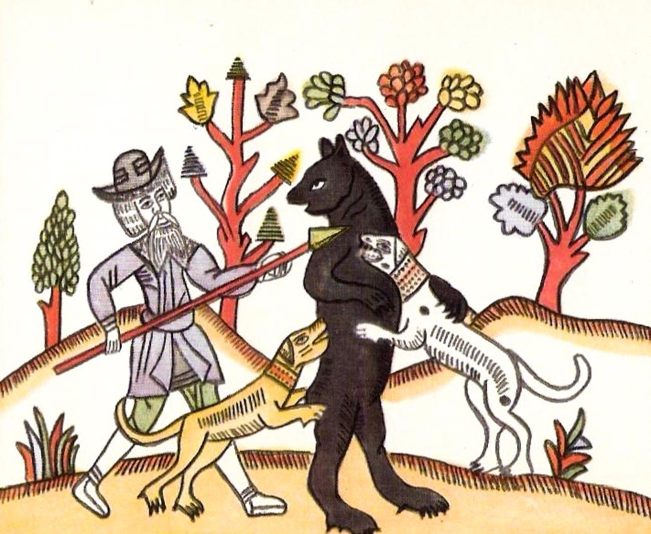"""Vignetta raffigurante il """"Rozhon"""", un palo appuntito usato come arma per la caccia"""