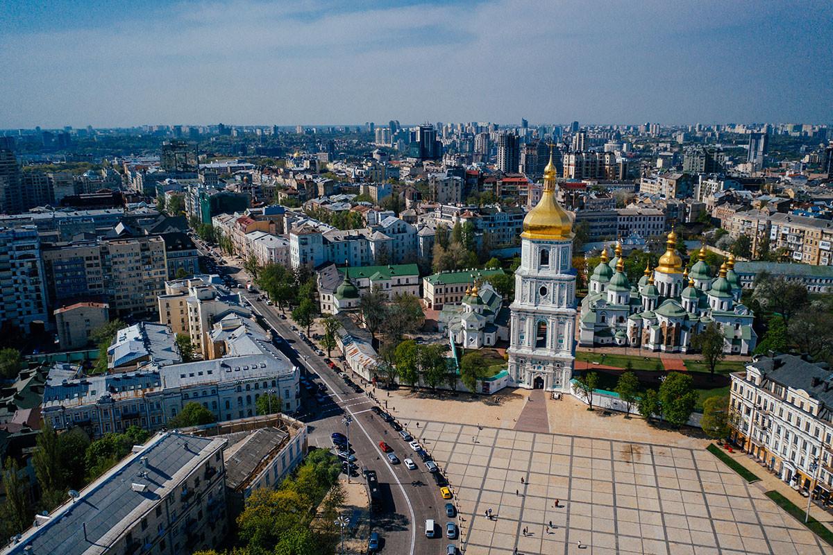 Vista aérea panorámica de la Catedral de San Miguel en Kiev, Ucrania.