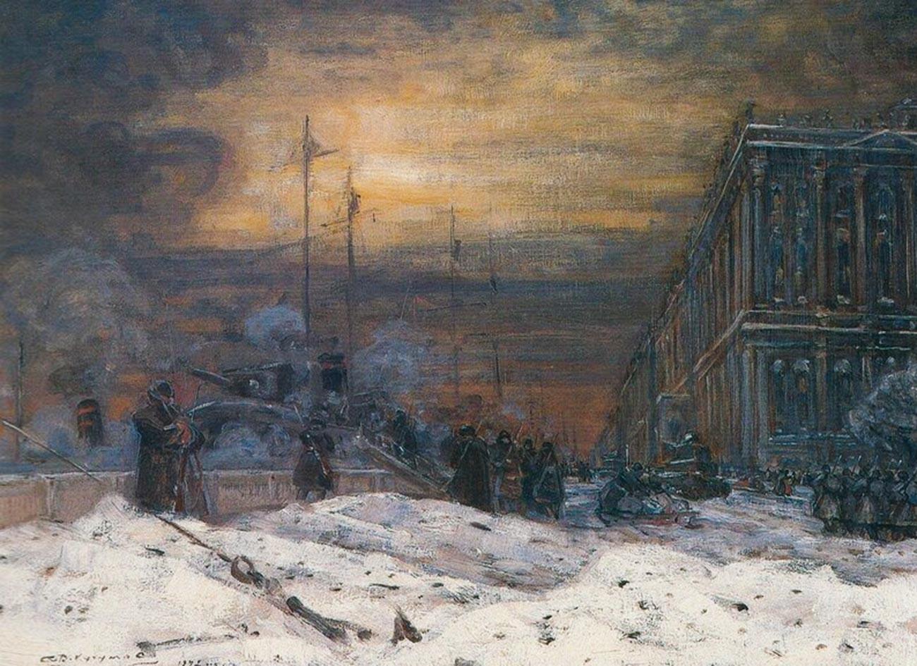 V・クチュモフ、『冬宮付近のネヴァ河岸通り』(1942年)
