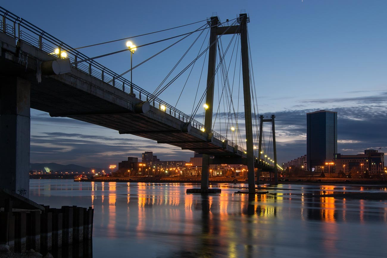 Viseči most za pešce čez Jenisej