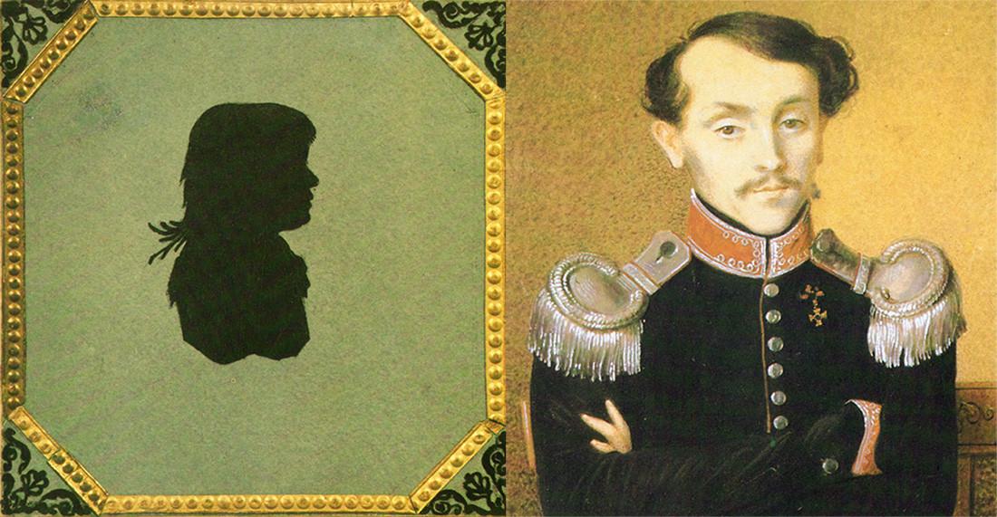 Силует на Волконская, единственото изображение на майката на писателя,  1810-те години; Николай Илич Толстой, 1823 г.
