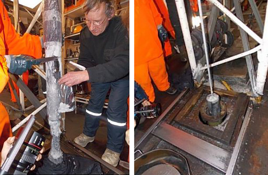 Le processus de forage d'un puits près du lac Vostok, auquel des scientifiques français ont également participé
