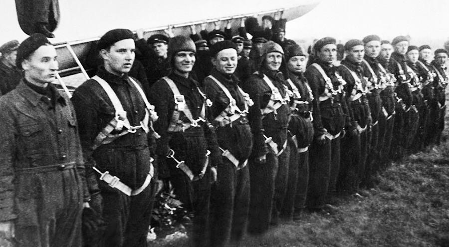 The SSSR-V6 crew after the flight.